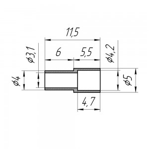 Обжимное кольцо для разъемов на кабели RG174, RG316 (диам. 4,0х5,0 мм)
