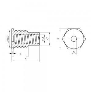 Кабельный ввод, на корпус, для RG58, RG-142, RG-400, LMR-195, LMR-200, внешняя резьба 3/8х32