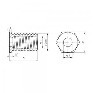Кабельный ввод, на корпус, для RG6, внешняя резьба 3/8х32